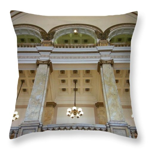 Central Library Throw Pillow featuring the photograph Central Library Milwaukee Interior by Anita Burgermeister