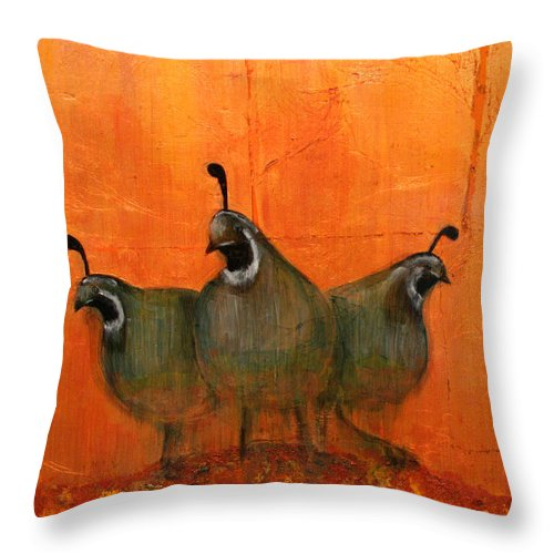 Oil Throw Pillow featuring the mixed media Central Oregon Quail by Patt Nicol