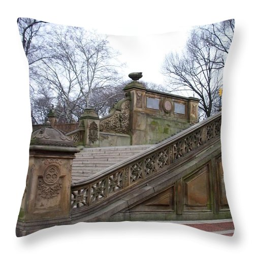 Central Park Throw Pillow featuring the photograph Central Park Bethesda 1 by Anita Burgermeister