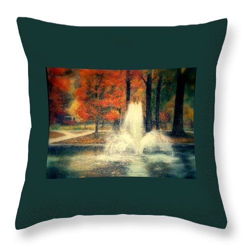 Pond Throw Pillow featuring the painting Central Park In Autumn by Gail Kirtz