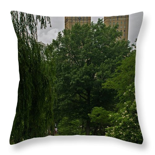 twin Towers Of Central Park West Throw Pillow featuring the photograph Central Park by Paul Mangold