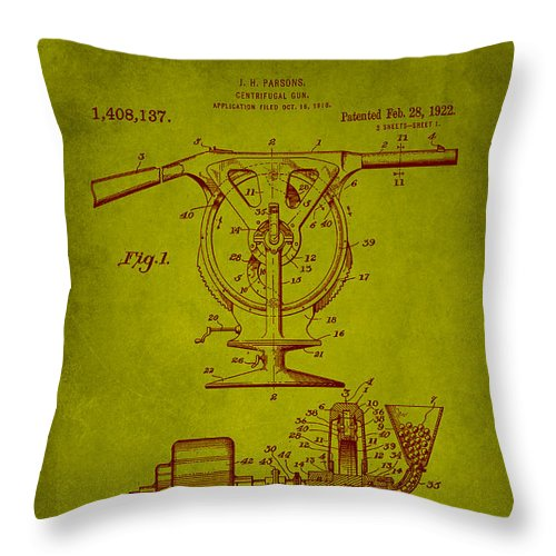 Patent Throw Pillow featuring the mixed media Centrifugal Gun Patent Drawing 3j by Brian Reaves