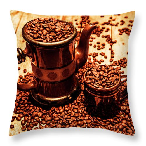 Hot Throw Pillow featuring the photograph Ceramic Coffee Pot And Mug Overflowing With Beans by Jorgo Photography - Wall Art Gallery