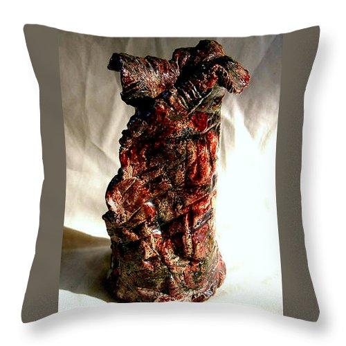 Ceramic Throw Pillow featuring the ceramic art Ceramic Red Vase by Madalena Lobao-Tello