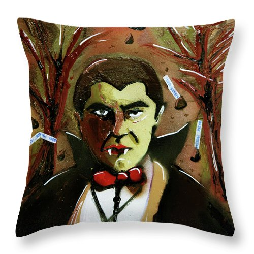 Count Chocula Throw Pillow featuring the painting Cereal Killers - Count Chocula by eVol i