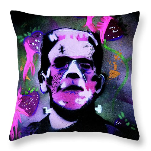 Cereal Killers Throw Pillow featuring the painting Cereal Killers - Frankenberry by eVol i