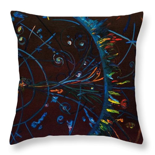 Cern Throw Pillow featuring the painting Cern Atomic Collision Physics And Colliding Particles by Gregory Allen Page
