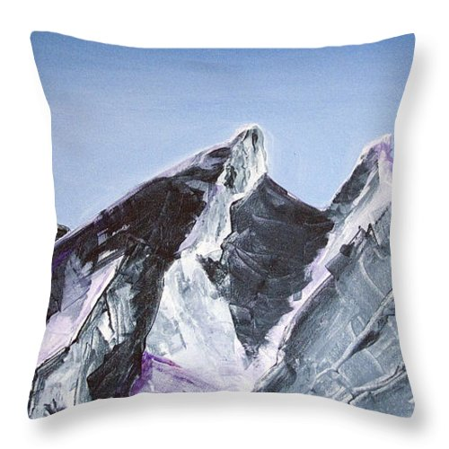 Acrylic Landscape Painting Throw Pillow featuring the painting Cerro De La Silla Of Monterrey Mexico by Kandyce Waltensperger