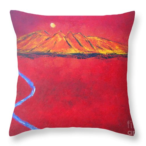 Mexican Art Throw Pillow featuring the painting Cerro In Red by Sonia Flores Ruiz
