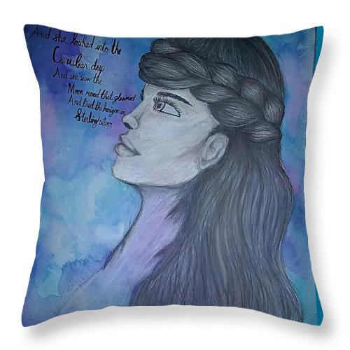 Woman Throw Pillow featuring the drawing Cerulean by Alexandra Mussatti