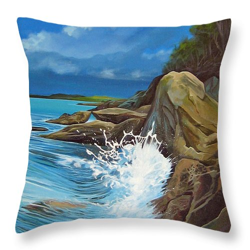 Ocean Throw Pillow featuring the painting Cerulean by Hunter Jay