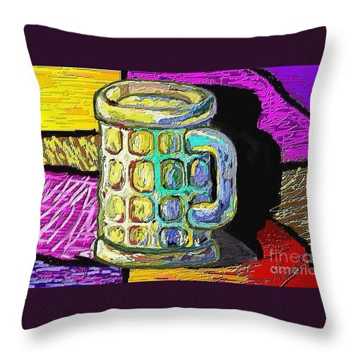 Digital Art Throw Pillow featuring the painting Cervesa by Xavier Ferrer