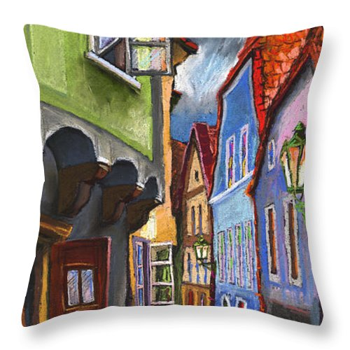 Pastel Chesky Krumlov Old Street Architectur Throw Pillow featuring the painting Cesky Krumlov Old Street 1 by Yuriy Shevchuk