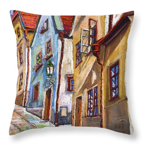 Pastel Chesky Krumlov Old Street Architectur Throw Pillow featuring the painting Cesky Krumlov Old Street 2 by Yuriy Shevchuk
