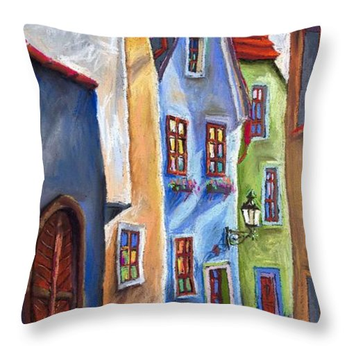Cityscape Throw Pillow featuring the painting Cesky Krumlov Old Street by Yuriy Shevchuk