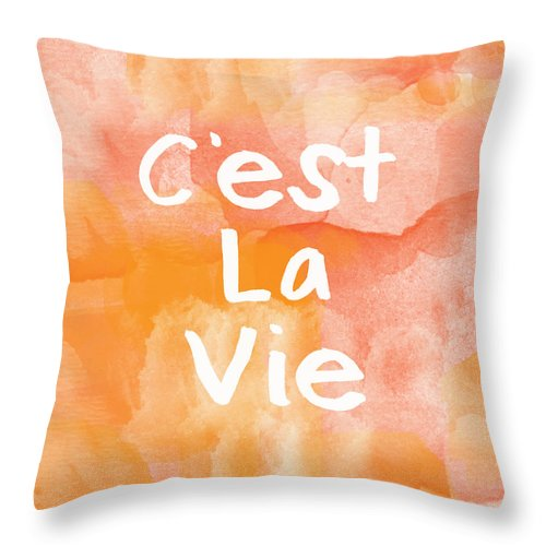 C'est La Vie Throw Pillow featuring the painting C'est La Vie by Linda Woods