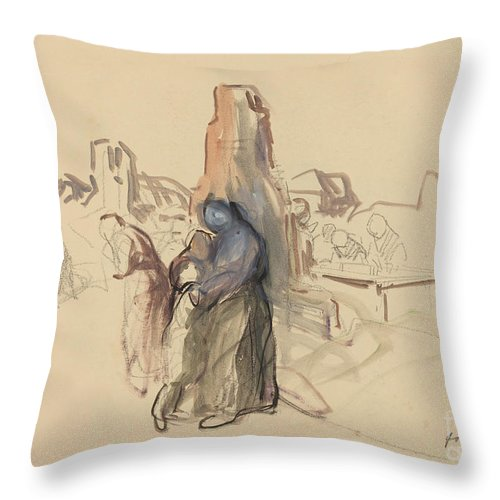 Throw Pillow featuring the drawing C'etait Notre Maison by Jean-louis Forain