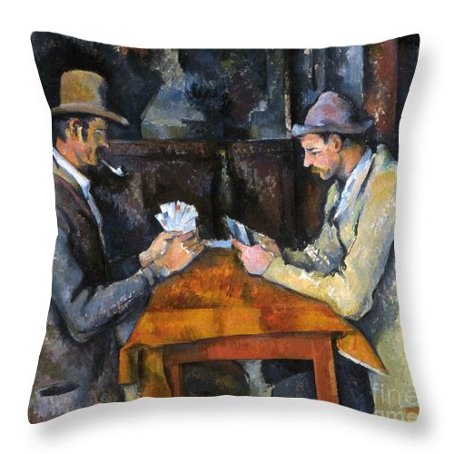 Aod Throw Pillow featuring the photograph Cezanne: Card Player, C1892 by Granger