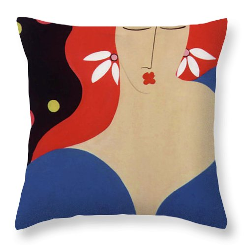 #female Throw Pillow featuring the painting Cha Cha by Jacquelinemari