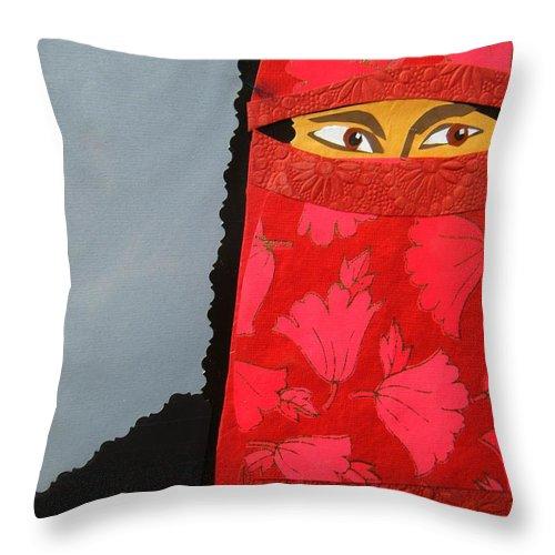 Woman Throw Pillow featuring the mixed media Chador by Debra Bretton Robinson