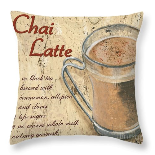 Coffee Throw Pillow featuring the painting Chai Latte by Debbie DeWitt