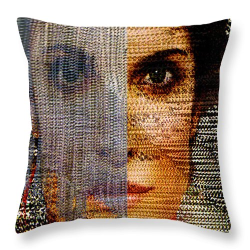 Mysterious Throw Pillow featuring the digital art Chained Vixen by Seth Weaver