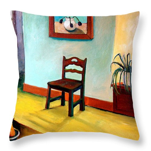 Apartment Throw Pillow featuring the painting Chair And Pears Interior by Michelle Calkins