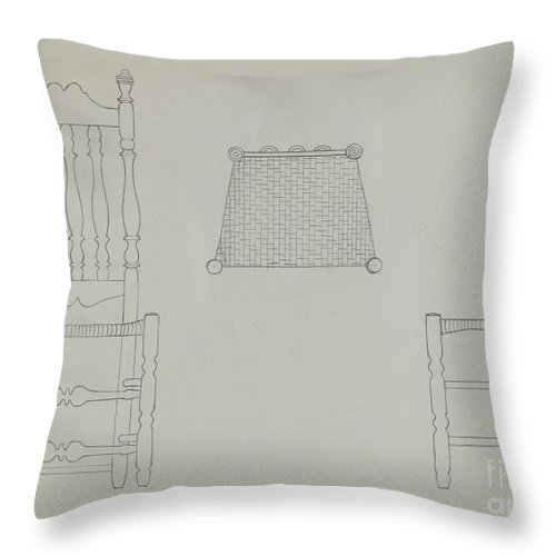 Throw Pillow featuring the drawing Chair by Gerald Bernhardt