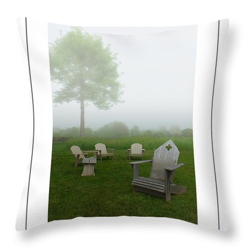 Chairs Throw Pillow featuring the photograph Chairs In The Mist Poster by Mike Nellums
