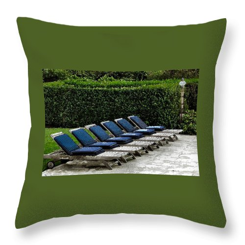 Chair Throw Pillow featuring the digital art Chairs Of The Deck by Lin Grosvenor