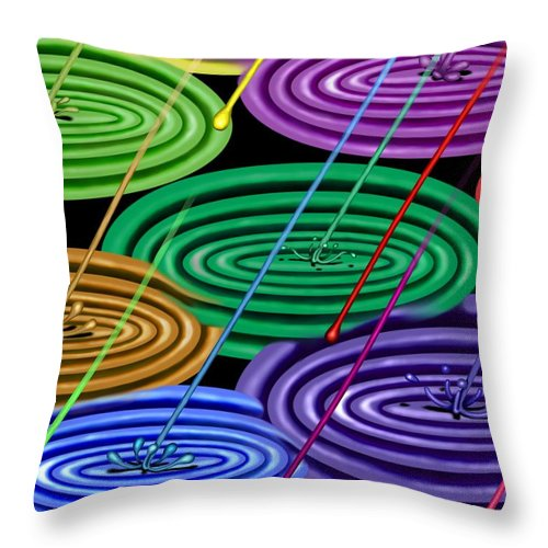 Surrealism Throw Pillow featuring the digital art Chakra Shower I by Robert Morin