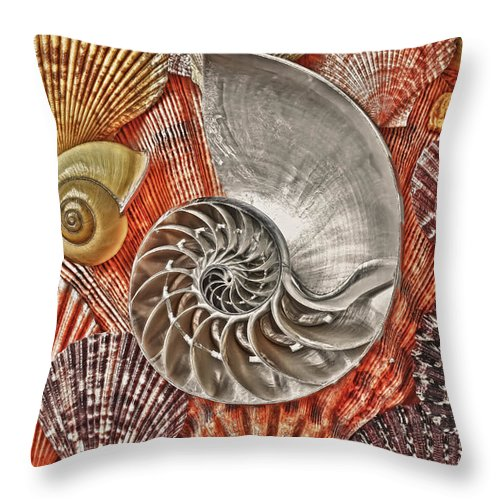 Chambered Nautilus Throw Pillow featuring the photograph Chambered Nautilus Shell Abstract by Garry Gay
