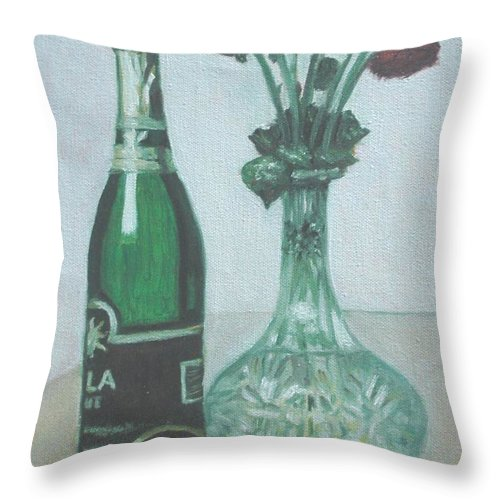 Champagne Throw Pillow featuring the painting Champagne And Roses by Usha Shantharam