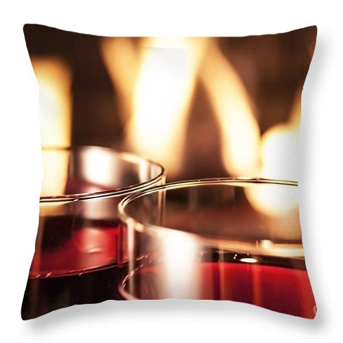 Wine Throw Pillow featuring the photograph Champagne Glasses by Sebastien Coell