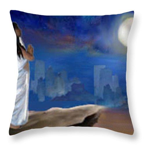 Moonlight Throw Pillow featuring the digital art Chandra Namaskar by Shresta Ganesh
