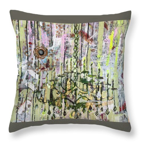 Chandelier Throw Pillow featuring the mixed media Chandy And The Complimentary Evil Eye by Christina Shurts