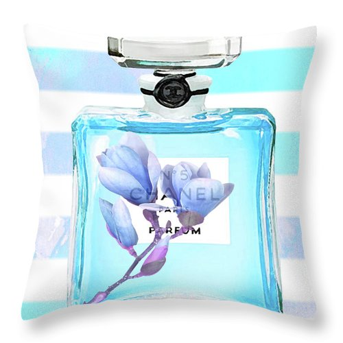 Chanel Poster Throw Pillow featuring the painting Chanel Blue Decor by Del Art