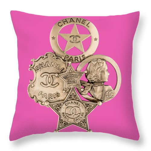 Chanel Throw Pillow featuring the painting Chanel Jewelry-16 by Nikita