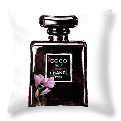 Chanel Painting Throw Pillow featuring the painting Chanel Noir Magnolia Pink by Del Art