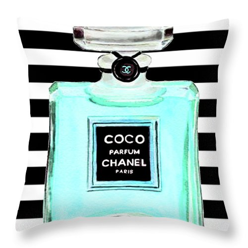 Chanel Print Throw Pillow featuring the painting Chanel Perfume Turquoise Chanel Poster Chanel Print by Del Art