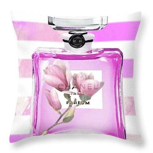 Chanel Print Throw Pillow featuring the painting Chanel Pink Flower 5 by Del Art