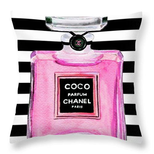 Coco Chanel Throw Pillow featuring the painting Chanel Pink Perfume 1 by Del Art