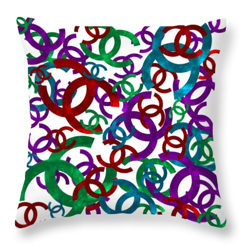 Chanel Throw Pillow featuring the painting Chanel Sign-1 by Nikita