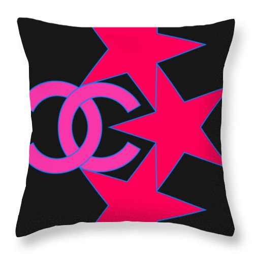 Chanel Throw Pillow featuring the painting Chanel Stars-9 by Nikita