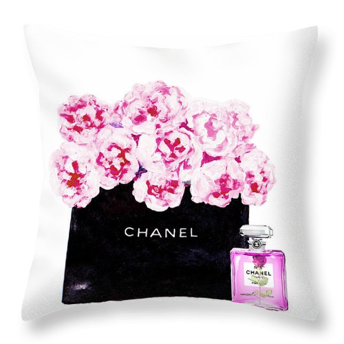 Chanel Art Print Throw Pillow featuring the mixed media Chanel With Flowers by Del Art