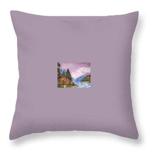 Cabin Throw Pillow featuring the painting Changing Seasons by Sue Carmony