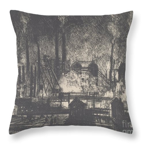 Throw Pillow featuring the drawing Changing Shifts, Charleroi by Joseph Pennell