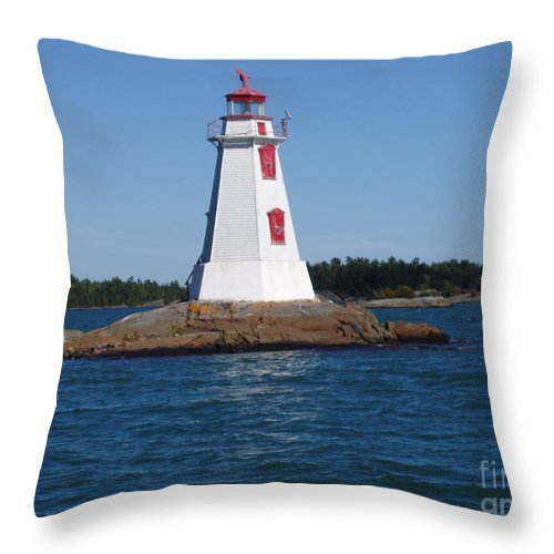 Lighthouse Throw Pillow featuring the photograph Channel Lighthouse by Cathy Beharriell