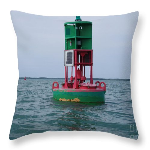 Buoy Throw Pillow featuring the photograph Channel Markers 2006 by Cathy Beharriell