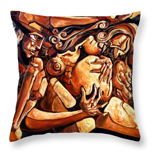 Surrealism Throw Pillow featuring the painting Chaos After The News by Darwin Leon